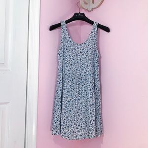 H&M Divided Dress   White & Blue Floral Mini Dress